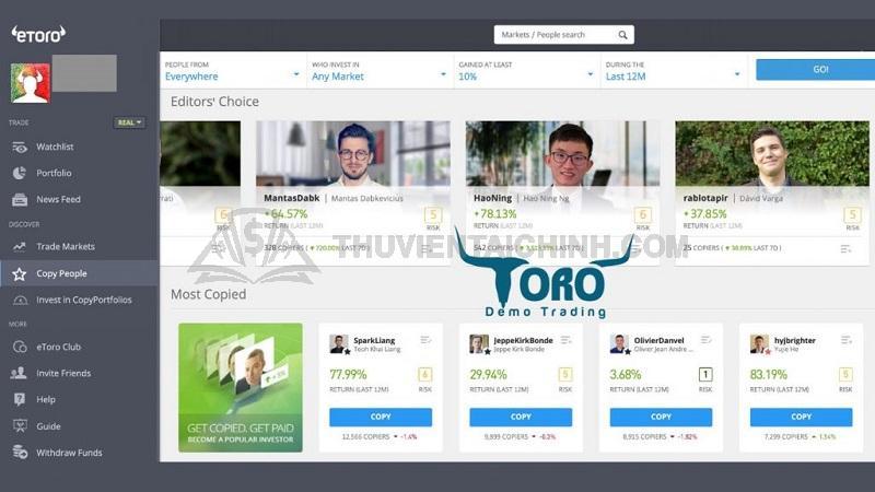 Chức năng sao chép giao dịch trên eToro hiển thị profile toàn diện của những nhà đầu tư chuyên nghiệp