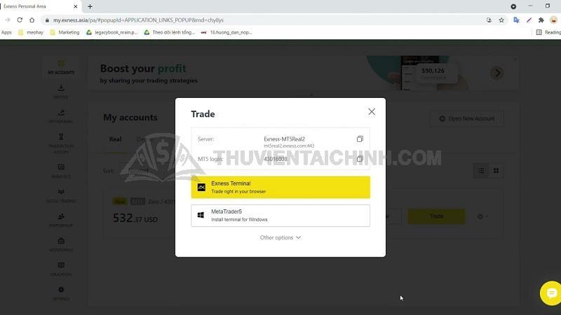 Hướng dẫn giao dịch Webtrading Exness